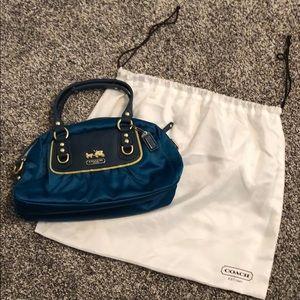 TEAL Coach satin purse